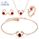 LAMOON Jewelry Sets for Women S925 Sterling <b>Silver</b> Natural Garnet Gemstone Heart Fine Jewelry Bridal Wedding Bijoux V015-1