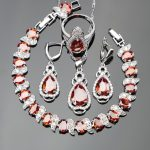 Classic Water Drop Jewelry Sets <b>Silver</b> 925 Red Cubic Zirconia White Stones <b>Bracelets</b>/Earrings/Pendant/Necklace/Rings For Women
