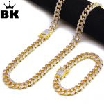 THE BLING KING 13.5mm CZ Cuban Chain & <b>Bracelet</b> Set Gold, <b>Silver</b>, Double Color Hip Hop Micro Paved Cubic Zirconia Shiny Copper