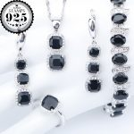 New <b>Silver</b> 925 Costume Black Zircon Wedding Jewelry Sets Charms <b>Bracelets</b> Earrings Rings Pendant Necklace For Women Set Gift Box