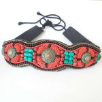 HDC0629 Tibetan Hand Sewed Tribal Belts Colorful Stone Coral <b>Fashion</b> Wide Beaded Waistband Cloth Decor Belt