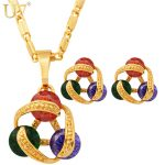 U7 Luxury Necklace Set For Women Trendy 3 Zircon Beads With Gold Color Necklace Earrings <b>Jewelry</b> Sets With Box S417