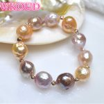 Genuine 100% Natural 11-13mm Multicolor Baroque Pearl <b>Bracelet</b> Fashion rose gold elasticity <b>bracelets</b> For women Free shipping