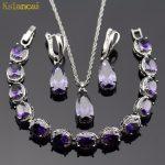 Lan Classic Sliver-Planted Jewelry Sets Purple AAA Zircon Water Drop Shaped Necklace&Pendant/Earrings /<b>Bracelet</b> Free Shipping