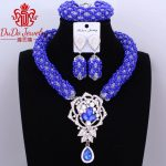 2017 Newest Christmas <b>Jewelry</b> Set Dubai Royal Blue And White <b>Necklace</b> Set of <b>Jewelry</b> Nigerian Wedding African Beads <b>Jewelry</b> Sets