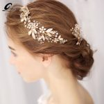 QUEENCO Gold Bridal Headband Crystal Tiara Wedding Hair Accessories Hair Vine Bride Headpiece <b>Handmade</b> Hair <b>Jewelry</b>