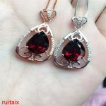 KJJEAXCMY boutique jewels 925 pure <b>silver</b> inlaid with gold jewelry, natural garnet diamond pendant jewelry <b>necklace</b>.