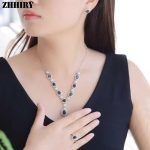 Natural Sapphire Gemstone <b>Jewelry</b> Set Genuine Solid 925 <b>Sterling</b> <b>Silver</b> Women Ring Necklace Earring ZHHIRY