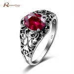 Classic Luxury Solid 925 Sterling <b>Silver</b> Ring 3Ct Lab Ruby Stones Crystal Butterfly Wedding <b>Jewelry</b> Rings Engagement For Women