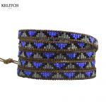 KELITCH <b>Jewelry</b> Blue Gray Black Crystal Seed Beaded Wrap Bracelet Genuine Leather Chain 5 Strand <b>Handmade</b> Brand Women Bracelet