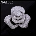 ANGELCZ Elegant CZ Brooch <b>Jewelry</b> Micro Paved Tiny Cubic Zirconia Crystal Romantic Rose Flower Brooches Pins For Women BP003
