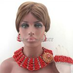 Chunky New Red Big Bold <b>Handmade</b> <b>Jewelry</b> Sets African Crystal Beads Necklace Set Nigerian Wedding Free Shipping HD8433
