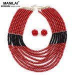 MANILAI African <b>Jewelry</b> Set Fashion <b>Accessories</b> Glass Beads Crystal Necklaces Matching Drop Earrings <b>Jewelry</b> Sets Women Wedding