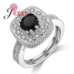Jemmin Vintage <b>Antique</b> 925 Sterling Silver Black Crystal Ring For Woman Fashion design Big Square Stone Finger <b>Jewelry</b> Rings