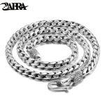 ZABRA Solid 925 <b>Sterling</b> <b>Silver</b> 5mm 55cm Vintage Long Chain Necklaces for Men Steampunk Retro Rock Fashion Men <b>Sterling</b> <b>Jewelry</b>