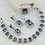 Square Rainbow Mystic Fire Crystal 925 Sterling <b>Silver</b> Jewelry Sets Women Wedding Necklace/Earrings/<b>Bracelet</b>/Pendant/Ring