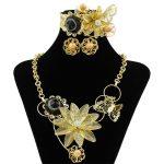 European Fashion Women 18 Gold <b>Jewelry</b> Sets Flower Shape Design Crystal <b>Necklace</b> Bracelet Earrings Milan Luxury Wedding <b>Jewelry</b>