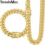 Trendsmax Miami Curb Cuban Link Womens Mens Jewelry Set 316L Stainless Steel Hip Hop Gold <b>Silver</b> Tone 8/12/14mm KHSM01