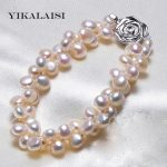 YIKALAISI 2017 New Fashion 6-7mm 100% Natural Freshwater Pearl <b>Bracelet</b> For Women Pearl Jewelry with 925 sterling <b>silver</b> jewelry