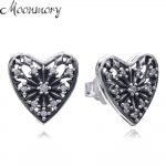 Moonnory Snowflake Heart Of Winter 925 Sterling Silver Earring Stud With Clear Zircon For Woman Fashion <b>Jewelry</b> <b>Making</b> Accessory