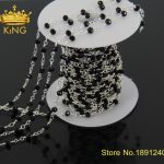 5Meter/Lot Wholesale!Wire Wrapped Beaded Chains Silver Plated Rosary Chain Black Crystal Faceted Beads <b>Jewelry</b> <b>Making</b> JD012