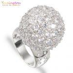 Yunkingdom Big Round Ball White Cubic Zirconia Luxury Party Rings for Women Fashion <b>Wedding</b> <b>Jewelry</b> M0395