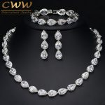 CWWZircons High Quality 3 Piece African Indian Bridal Wedding Costume Jewellery For Women Luxury Zirconia <b>Jewelry</b> Sets T134