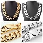 Top Quality 31mm Wide <b>Silver</b>/Gold Casting Stainless Steel Cuban Curb Link Chain Necklace/<b>Bracelet</b> Strong Mens Jewelry 8-40″