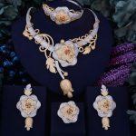 GODKI Luxury Flower Boom Women Nigerian Bridal Naija Bride Cubic Zirconia <b>Necklace</b> Dubai 4PCS <b>Jewelry</b> Set Jewellery Addiction