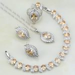 925 <b>Silver</b> Jewelry Orange CZ White Crystal Bridal Eye Jewelry Sets For Women Wedding Earring/Pendant/Necklace/<b>Bracelet</b>/Ring