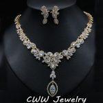 CWWZircons African Nigerian CZ Wedding <b>Jewelry</b> Clear Cubic Zirconia Crystal Bridal <b>Necklace</b> Earrings Sets For Wedding T077