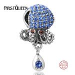 FirstQueen Summer Octopus 925 Sterling <b>Silver</b> Charm With Full Crystal Fit Original <b>Bracelet</b> Snake Chain DIY Jewelry