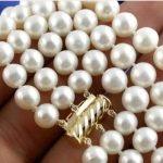 Hot 7-8MM 3Strds white Akoya Cultured Pearl Necklace Women Girls Gift Beads Round Stone <b>Jewelry</b> <b>Making</b> Design 15inch