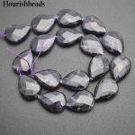 Wholesale 2 strands High Quality Natural Amethyst 15x20mm Flat Pear Drop Shape Stone Loose Beads <b>Jewelry</b> <b>Supplies</b>