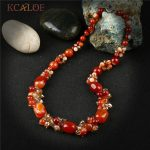 KCALOE Crystal Beads Choker Necklace For Women Fashion Red Natural Onyx Stone Statement Necklaces <b>Handmade</b> Fine <b>Jewelry</b> Colier