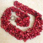 Fashion natural red coral irregular gravel chips 3x5mm stone chain necklace for women choker <b>jewelry</b> <b>making</b> 18″B522