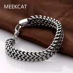MEEKCAT Brand 2017 mens bracelets & Bangles 5*12mm 316L Stainless Steel Wrist Band Hand Chain <b>Jewelry</b> Gift