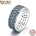 BAMOER 925 Sterling Silver Stackable Ring Charming Ocean Round Cocktail Finger Rings for Women Sterling Silver <b>Jewelry</b> SCR212