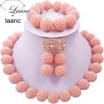 Laanc Peach African Beads <b>Jewelry</b> Set for Nigerian Wedding Simulated Pearl Necklace and Earrings SP1R004