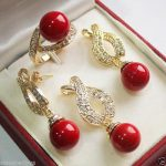 Women's Wedding Charming 12mm Red Shell Pearl Pendant Necklace Earrings Ring Set AAA Plated gold Bridal wide