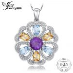 JewelryPalace Flower Heart 4ct Genuine Amethyst Citrine Blue Topaz White Topaz Pendant <b>Necklace</b> 925 Sterling <b>Silver</b> 45cm Chain