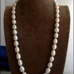 """Women's Wedding shipping>>28"""" 12mmx14mm White Rice Freshwater Pearl Necklace Earring Set real silver-<b>jewelry</b> silver-<b>jewelry</b>"""