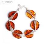 JIUDUO Pure natural original amber bees with hand string 925 <b>silver</b> <b>bracelet</b> Valentine 's Day girlfriend gift Genuine luxury 25g