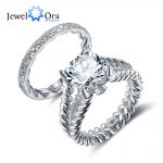 Luxury <b>Wedding</b> <b>Jewelry</b> 10mm 3.5 CT Hearts And Arrows Round Cubic Zirconia 925 Sterling Silver Ring Sets (JewelOra RI102342)