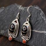 FNJ 925 <b>Silver</b> Eye Earrings for Women <b>Jewelry</b> Black Dzi Red Agate 100% Pure Original S925 <b>Silver</b> <b>Sterling</b> Drop Earring