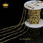 Rosary Chain Wholesale Black Glass Stone Bead Chain Wire Wrapped Chain <b>Jewelry</b> Chain <b>Supply</b> with Plated Gold LS047