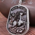 925 <b>Silver</b> Natural Ice Obsidian Hand Carved Chinese Zodiac Horse Amulet Lucky Pendant + Beads <b>Necklace</b> Fashion Charm Jewelry