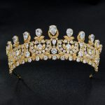 Luxurious Cubic Zirconia Classic Big Royal <b>Wedding</b> Bridal Gold Color Tiara Crown Women Girl Hair Accessories <b>Jewelry</b> HG1162