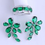 Love Monologue Lrregular Style Green Imitation Emerald 925 Stamp Silver Color Ring & Stud Earring <b>Jewelry</b> Sets for Women JS003