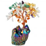 SUNYIK 4 Inch Colorful Money Tree,Rainbow Aura Titanium Crystal Cluster Base Bonsai Figurine for Wealth and Luck